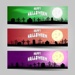Three horizontal Halloween banners detailed vector set