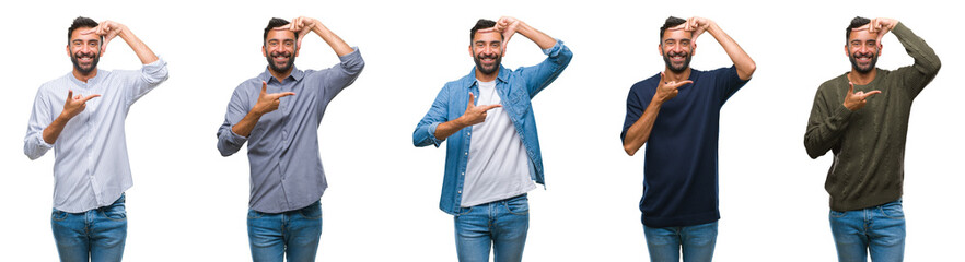 Collage of young man wearing casual look over white isolated backgroud smiling making frame with hands and fingers with happy face. Creativity and photography concept.