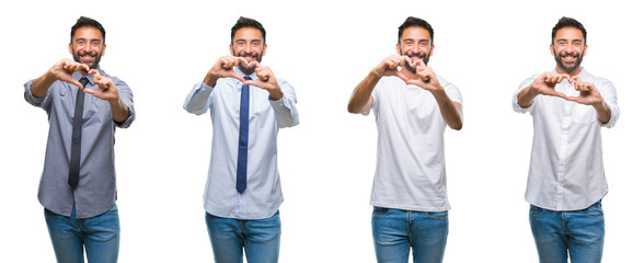 Collage of young man wearing casual look over white isolated backgroud smiling in love showing heart symbol and shape with hands. Romantic concept.