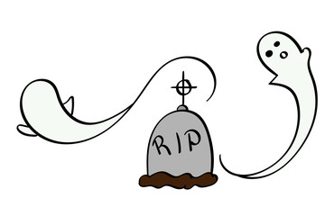 Ghosts swirling around a grave
