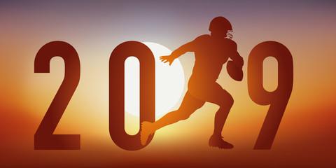 Carte de vœux 2019 sur le thème du football américain, avec un footballeur en pleine action, qui cours vers la ligne de but