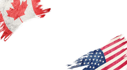 Flags of Canada and USA on white background