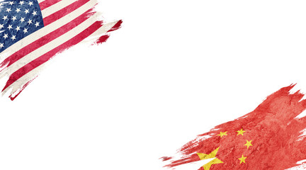 Flags of USA and China on white background