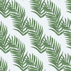 Palm leaf seamless pattern background. Beach seamless pattern wallpaper of tropical leaves of palm trees. Vector illustration.