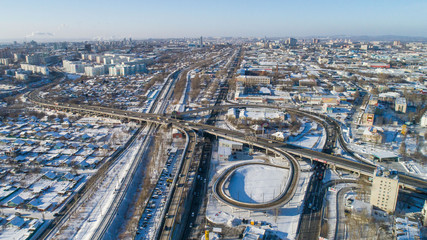Khabarovsk road junction . the view from the top. taken by drone. prospect 60 years of October .