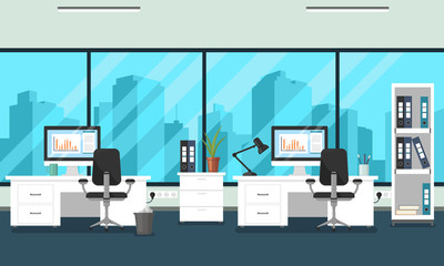 Vector corporate workspace illustration