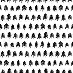 Seamless pattern with hand drawn trees. Seamless patterns with black fir-trees. Christmas ornament.