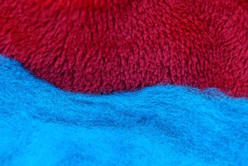 red blue fabric background made from woolen cloth clothes
