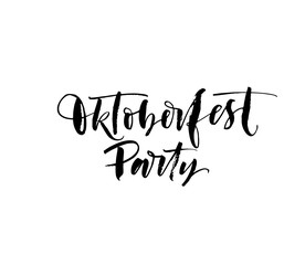 Oktoberfest party card. Hand drawn modern brush calligraphy.