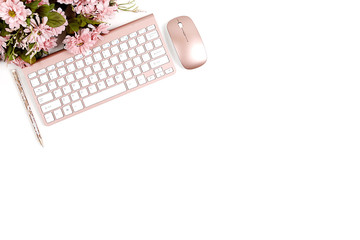 Rose Gold Styled Desktop on White