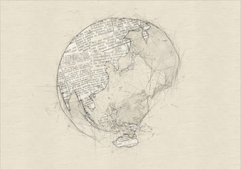 ノートに鉛筆で描いた抽象的な地球