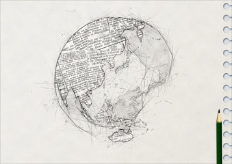 鉛筆で描いた地球