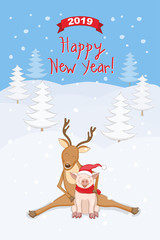 New year 2019 card with reindeer and piggy