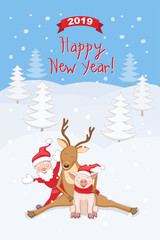 New year 2019 card with reindeer, santa and piggy