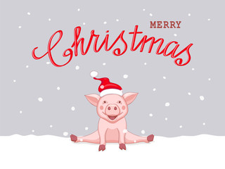 christmas card with sitting pink piggy on the snow