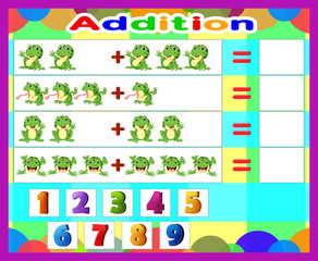 Additional game frog cartoon, math educational game for children