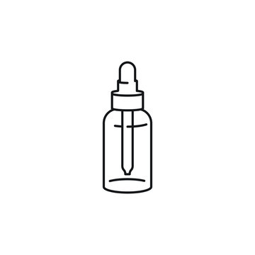 Dropper bottle tinctures vector line art icon black on white background cannabis marijuana industry business symbols