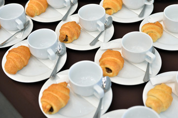 Coffee drinks catering, Hot Coffee Served with Bread, Coffee break at conference meeting for seminar