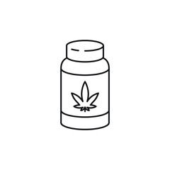 Pill bottle vector line art icon black on white background cannabis marijuana industry business symbols