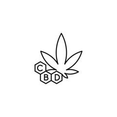 CBD leaf vector line art icon black on white background cannabis marijuana industry business symbols