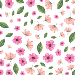 flowers and leafs pattern background