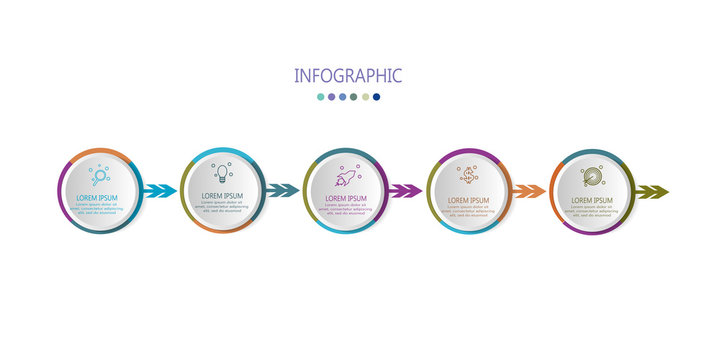modern infographic timelime with 5 options label design template vector