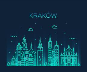 Fototapete - Krakow skyline, Poland. Trendy vector linear city