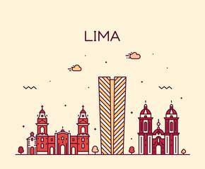 Fototapete - Lima skyline, Peru. Trendy vector linear style