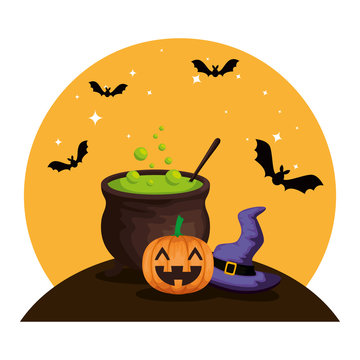 happy halloween cauldron with witch hat