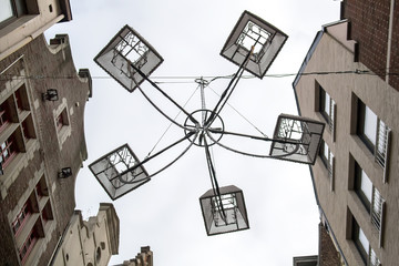 Chandelier in antique style, street light in Amsterdam, Netherlands. Selective focus
