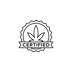 Certified vector line art icon black on white background cannabis marijuana industry business symbols