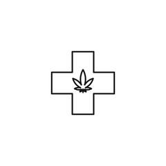 Medical marijuana cross vector line art icon black on white background cannabis marijuana industry business symbols