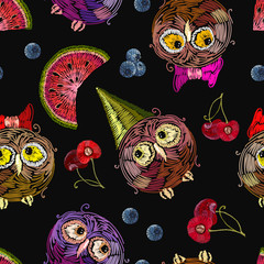 Cute owls and fruits, berry seamless pattern. Embroidery funny birds. Template for clothes, textiles, t-shirt design