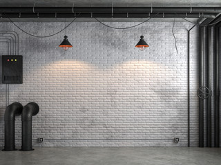 Wall Mural - Industrial loft style empty room with white brick wall 3d render,There are white brick wall and polished concrete floor decorate with black steel tube.