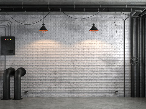 Industrial loft style empty room with white brick wall 3d render,There are white brick wall and polished concrete floor decorate with black steel tube.