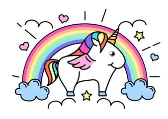 Vector illustration of fantasy animal horse unicorn on rainbow background. Flat style design
