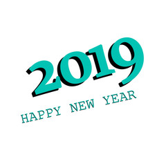 2019 New Year. banner background, vector icon on white background