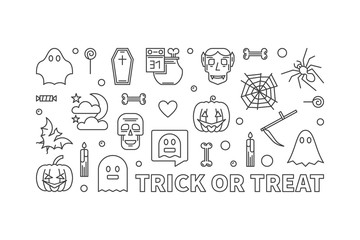 Trick or Treat vector outline illustration. 31 October banner