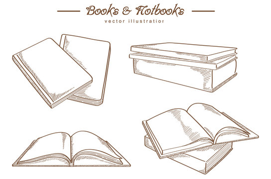 Hand drawn book and notebook - vintage style