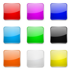 Square glass buttons. Colored set of 3d icons