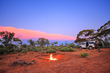 Poster Oceanië Evening fire in Australian outback