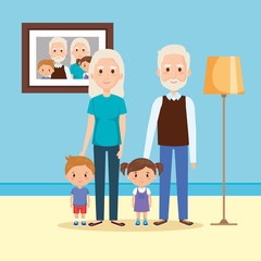 grandparents with grandson and granddaughter in house