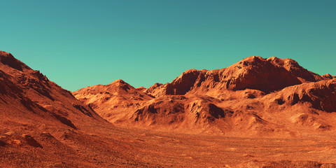 Photo sur Plexiglas Brique Mars landscape, 3d render of imaginary mars planet terrain, science fiction illustration.