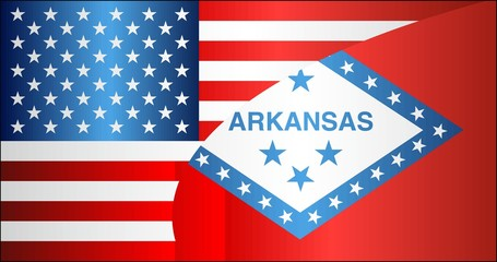 Flag of USA and Arkansas state - Illustration,  Mixed Flags of the USA and Arkansas