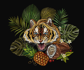Embroidery tiger in the jungle, palm tree leaves, pineapple, coconut tropical art. Fashionable template for clothes, t-shirt design. Embroidery angry tiger face