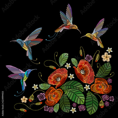 Embroidery Tropical Hummingbirds And Flowers Poppies Fashionable