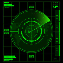 Green radar screen on black background, HUD interface