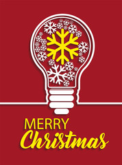 Merry Christmas snowflakes in light bulb on red background. Vector illustration