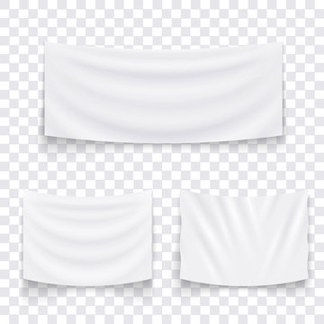 Set of hanging empty white textile banners