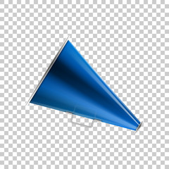 Realistic Megaphone blue isolated object on transparent background. Vector Illustration